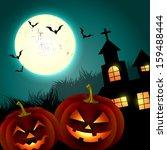 halloween creepy pumpkin design ... | Shutterstock .eps vector #159488444