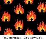 8 Bit Pixel Fire Flame Vector....