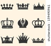 Vector Set Of 9 Crown Icons