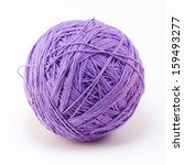 Purple Wool Yarn Ball Isolated...
