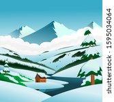 winter background illustration... | Shutterstock .eps vector #1595034064