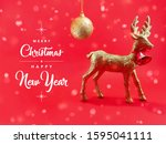 merry christmas   happy new... | Shutterstock . vector #1595041111