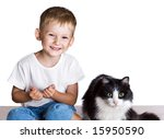 little boy and big cat isolated   Shutterstock . vector #15950590