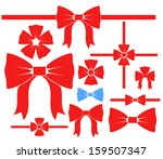 bow. icon set. red bows on... | Shutterstock .eps vector #159507347