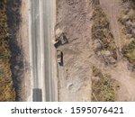 aerial shot of excavator... | Shutterstock . vector #1595076421