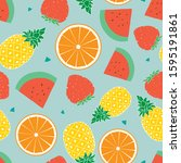 seamless pattern with mix of... | Shutterstock .eps vector #1595191861