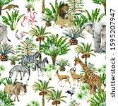 seamless patterns with safari... | Shutterstock . vector #1595207947