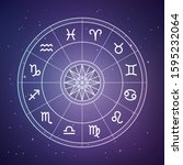zodiac circle. astrology and... | Shutterstock .eps vector #1595232064