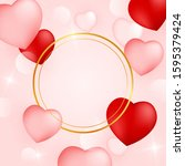 holiday valentine's card with...   Shutterstock .eps vector #1595379424