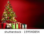christmas tree with gifts on... | Shutterstock . vector #159540854