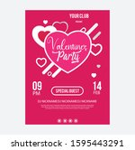 valentines day party flyer... | Shutterstock .eps vector #1595443291