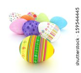 Easter eggs on a white background. - stock photo