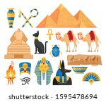 ancient egypt cartoon colorful... | Shutterstock .eps vector #1595478694
