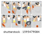 woman and man sleeping poses... | Shutterstock .eps vector #1595479084