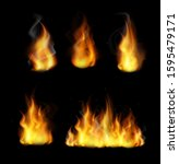 forks of flame realistic 3d... | Shutterstock .eps vector #1595479171