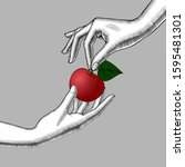 woman's hands with an apple.... | Shutterstock .eps vector #1595481301