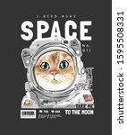 Space Slogan With Cute Cat In...
