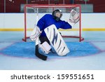 young goalkeeper catching a ... | Shutterstock . vector #159551651