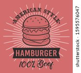 american style hamburger beef.... | Shutterstock .eps vector #1595576047