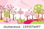beautiful springtime landscape... | Shutterstock .eps vector #1595576497