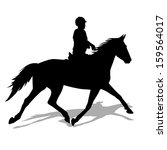 Vector Silhouette Of Horse And...