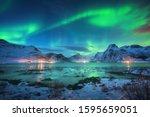 Aurora Borealis Over The Sea...