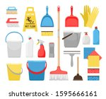 householding cleaning tools.... | Shutterstock .eps vector #1595666161