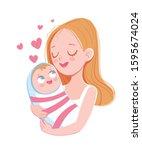mom holds baby. happy mother's... | Shutterstock .eps vector #1595674024