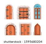 Ancient Doors. Wooden Stone...