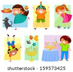 children celebrating hanukkah | Shutterstock .eps vector #159573425
