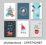 set of winter holidays greeting ... | Shutterstock .eps vector #1595742487