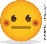 flushed neutral face emoji.... | Shutterstock .eps vector #1595774644