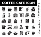 coffee cafe solid icons. pixel... | Shutterstock .eps vector #1595787091