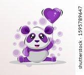cute panda mascot cartoon... | Shutterstock .eps vector #1595789647