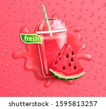fresh watermelon juice with... | Shutterstock .eps vector #1595813257