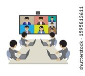 video conferencing  created... | Shutterstock .eps vector #1595813611
