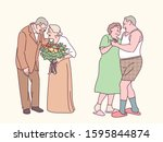 an old man is giving flowers to ... | Shutterstock .eps vector #1595844874