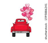 red retro pickup truck with... | Shutterstock .eps vector #1595886241