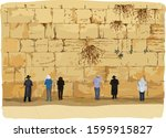 wailing wall in old jerusalem.... | Shutterstock .eps vector #1595915827