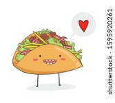 card with cute tacos. mexican... | Shutterstock .eps vector #1595920261