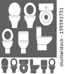 Toilet Bowl. Isolated Icons On...