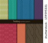 set of seven patterns. knitting ... | Shutterstock .eps vector #159595331