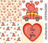 valentine's day set with...   Shutterstock .eps vector #1595962084