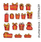 set of nice gifts of red color. ... | Shutterstock .eps vector #159596639