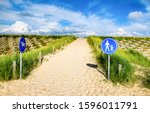 sand trail with road signs.... | Shutterstock . vector #1596011791