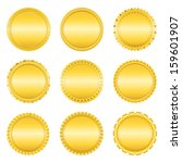 set of golden labels on white... | Shutterstock . vector #159601907