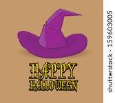 cartoon halloween poster with...   Shutterstock . vector #159603005