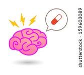 brain with comic balloon   Shutterstock .eps vector #159603089