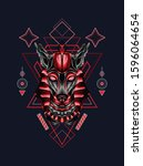 mystical red anubis with sacred ... | Shutterstock .eps vector #1596064654