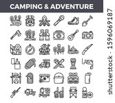 camping and outdoor adventure... | Shutterstock .eps vector #1596069187